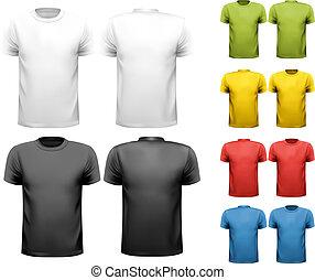 t-shirts., colorido, diseño, vector., macho, template.