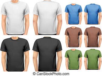 t-shirts., cor, homens, desenho, vector., pretas, branca, template.