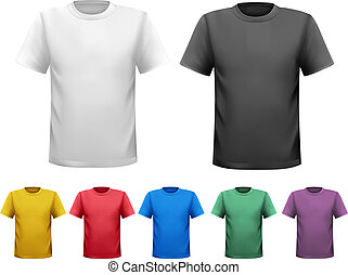 t-shirts., cor, homens, vetorial, desenho, pretas, branca,...