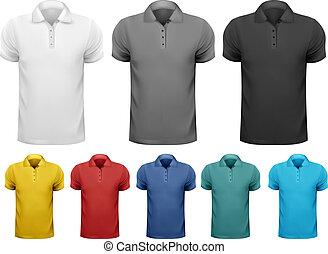 t-shirts., cor, homens, vetorial, desenho, pretas, branca, template.