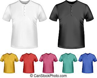 t-shirts., cor, homens, vetorial, pretas, pólo, desenho, branca, template.