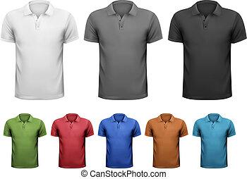t-shirts., couleur, hommes, illustration, vecteur, noir, conception, blanc, template.