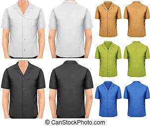 t-shirts., couleur, hommes, vecteur, conception, noir,...