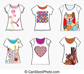 T-shirts design templates with funny paintings and patterns