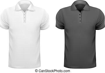t-shirts., férfiak, ábra, vektor, fekete, tervezés, fehér, template.