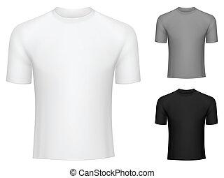 T-shirts. - Blank white, grey and black t-shirts.