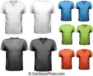 t-shirts., kleurrijke, ontwerp, vector., mannelijke , template.