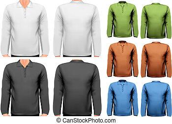t-shirts., kleurrijke, ontwerp, vector., mannelijke ,...