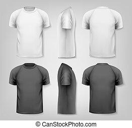 t-shirts., kleurrijke, vector, ontwerp, mannelijke , ...