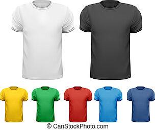 t-shirts., kolor, mężczyźni, wektor, projektować, czarnoskóry, biały, template.