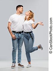 t-shirts, kus, gereed, witte , paar