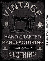 t-shirts, ou, typographie, posters., affiche, conception, couture, machine., studio, vendange, main, dessiné, logo