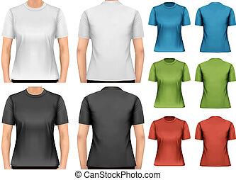 t-shirts., template., femmina, vector., disegno