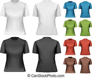 t-shirts., template., női, vector., tervezés