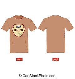 T-shirts with free beer tonight vector illustration