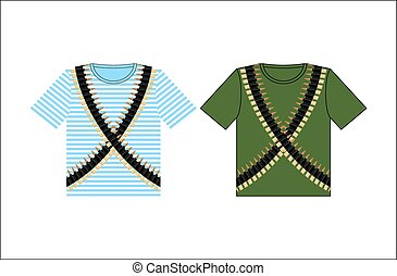 T-shirts with print cartridge belt. Clothing for Festival on February 23. Holiday in Russia. Defender of  fatherland day. Clothes of soldier and sailor. Green t-shirt and vest. Striped clothing.