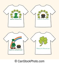 T-shirts with St. Patrick's Day prints  - Leprechaun, Leprechaun's hat, pot of gold and clover.