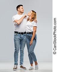 t-shirts, witte , paar, gereed, kus