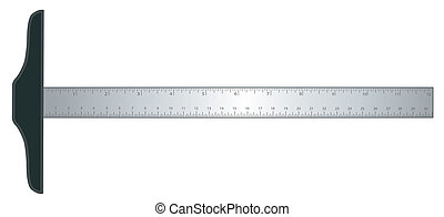 T-square architectural and engineering drafting tool with aluminum inch and centimeter measure. EPS8 compatible.