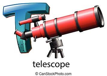 t, telescópio, letra