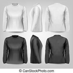 t-tröja, space., text, sleeved, kvinnlig, vector., länge, ...