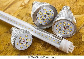 T8 LED tube and various chilled E27 bulbs made similar...