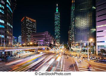 taïpei, tráfego, estrada,  xinyi,  101, noturna,  Taiwan,  taïpei, vista