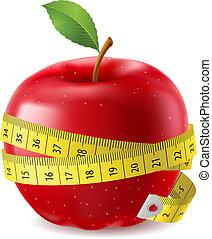 taśma, jabłko, czerwony, miara