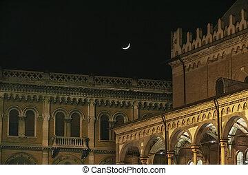 ta, dějinný, centrum, o, padova, v noci