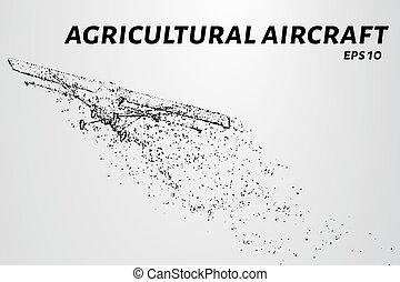 ta, hoblík, o, ta, particles., zemědělský letadlo, chápat, vypnut., ta, hoblík, disintegrates, do, menší, molecules., vektor, ilustrace