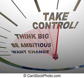 ta, kontroll, hastighetsmätare, tänka, stor, vilja, ändring