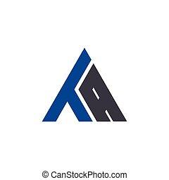 ta, logo, początkowy, litera, trójkąt