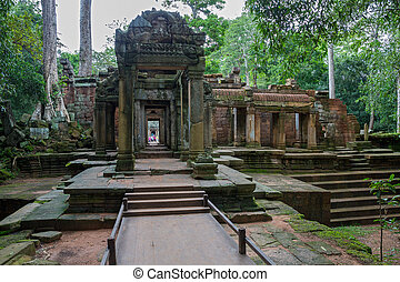 Ta Prohm, Angkor Wat - Entrance to Ta Prohm temple in Angkor...