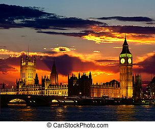 ta, sněm building, -, zvon věžních hodin londýnského...
