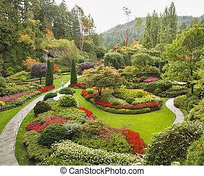 ta, sunken-garden, dále, ostrov, vancouver