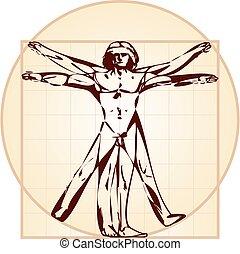 ta, vitruvian osoba, (stylized, version)