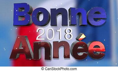 taal, franse , 2018, achtergrond, jaar, nieuw, lus, vrolijke