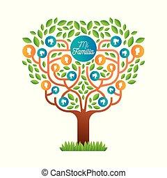 taal, gezin, grote boom, mal, spaanse