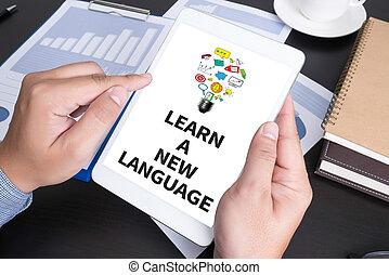 taal, nieuw, leren