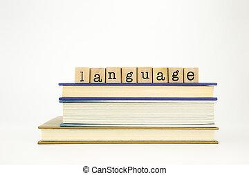 taal, woord, op, hout, postzegels, en, boekjes