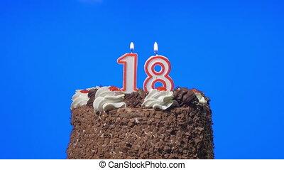 taart, 18, blazen, getal, kaarsjes