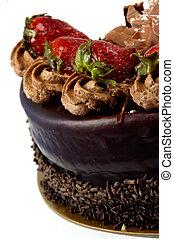 taart, aardbei, chocolade