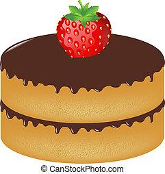 taart, aardbei, jarig, verstand