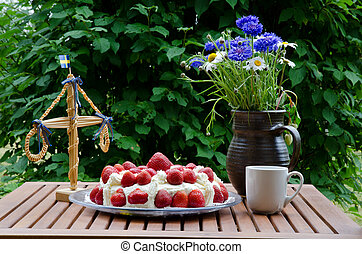 taart, aardbei, midsummer