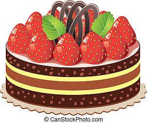 taart, aardbei, vector, chocolade