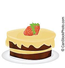 taart, aardbei, vector