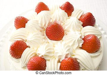 taart, aardbei, zich verbeelden