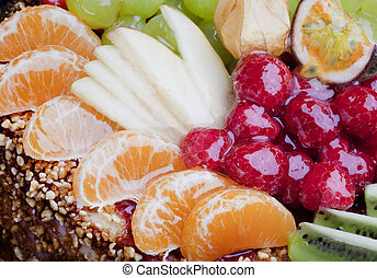 taart, afsluiten, fruit, op