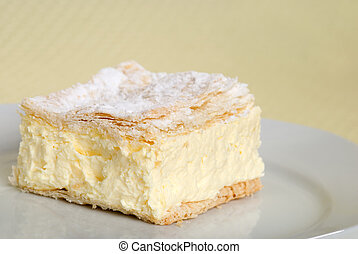 taart, afsluiten, plein, op, vla