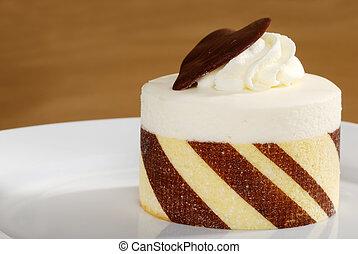 taart, afsluiten, witte , op, chocolade